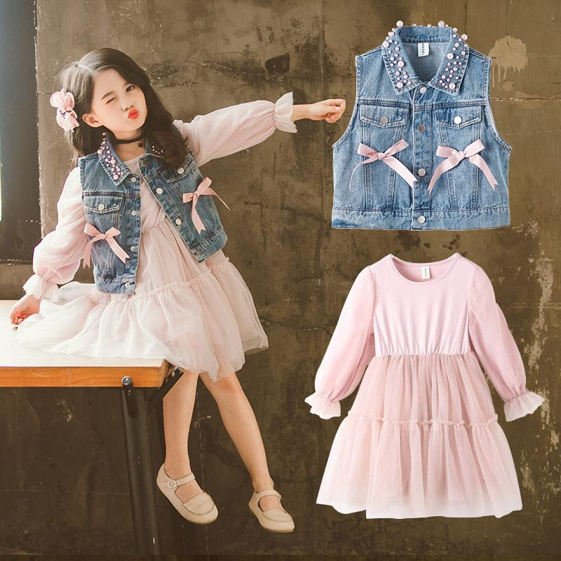 2019 Teenage Girls Clothing Set Fashion Children Autumn Suit For Girls Denim Jackets Jeans + Long Sleeve Dress Ensemble Fille 122019 Teenage Girls Clothing Set Fashion Children Autumn Suit For Girls Denim Jackets Jeans + Long Sleeve Dress Ensemble Fille 12