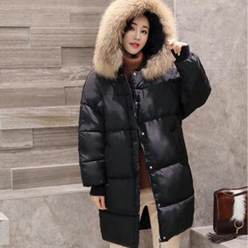 APOENG 2017 Women Warm Jackets Winter Hooded Paaded-Cotton Coats With Fur Collar Thicker Overwear Female Long Loose Parkas LZ499 aishgwbsj winter long coats women hooded padded cotton parkas female thicker 2017 new winter cotton warm overwear jackets pl127