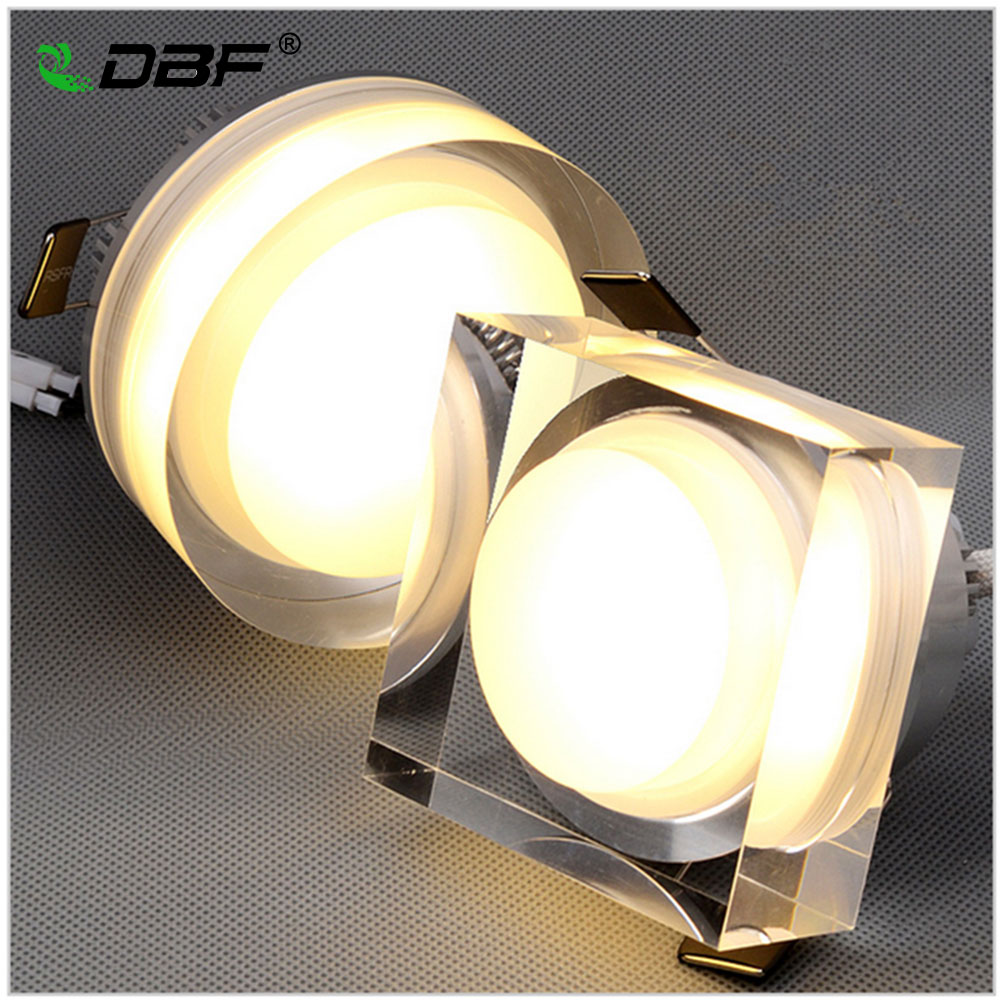 LED Crystal Downlight Square/Round 1W 3W 5W 7W LED Ceiling spot light led recessed lamp for home decoration kitchen Lighting image