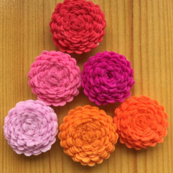 """300pcs/lot  DHL Free Shipping 1"""" Tiny Felt Flower without clips  Children Hair Accessories for baby DIY Headbands"""