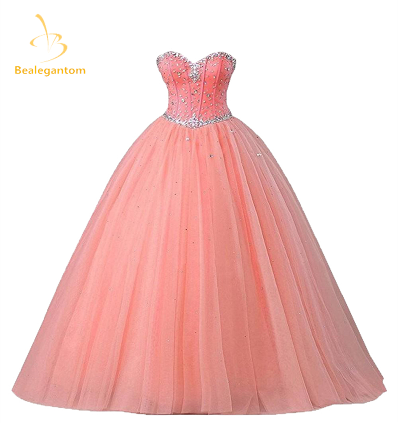 2018 New Pink  Quinceanera Dresses Ball Gowns Sweetheart Beading Lace Up Sweet 16 Dresses Vestidos De 15 Anos Party Gowns QA582