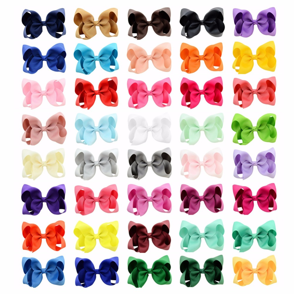 40Pcs/lot 4 Inch Girl Bows With Kids Boutique Solid Ribbon Bows Hairpin Windmill Hair Clip Hair Accessories 612