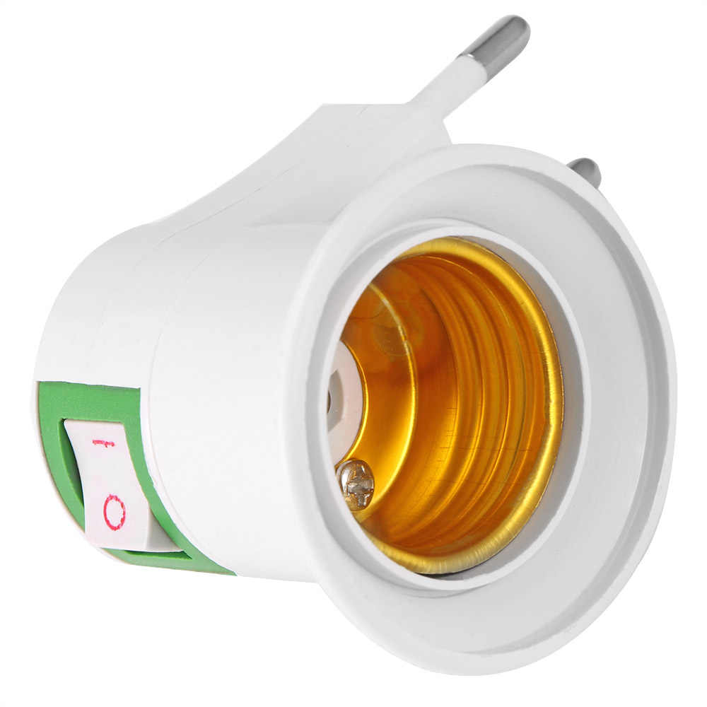 แบบพกพา E27 ไฟ led ซ็อกเก็ต EU ปลั๊กอะแดปเตอร์ Converter/ปิดสำหรับหลอดไฟ OfficeConverter ON /ปิด