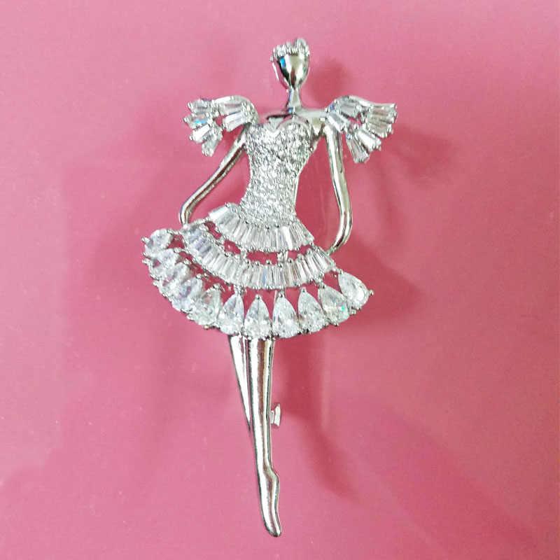 Offre spéciale danse fille broche pour femmes marque de luxe broches broches pour bouquets de mariage blanc plaqué or mode badge broche