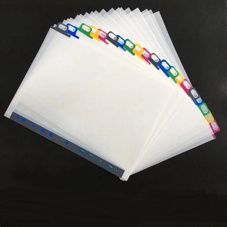 A4 20pages White Plastic Page Index Divider, 11holes Archives Files Paper Classify Organizer Office Accessory