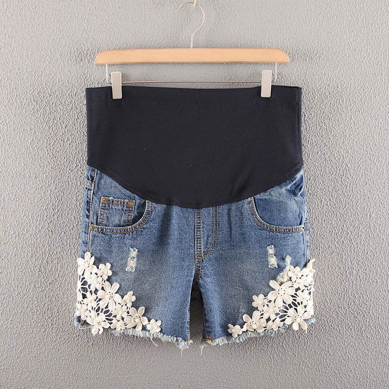 Hot Selling Summer Denim Maternity Shorts for Pregnant Women Jeans Lace Crochet High Waist Care Belly Pants