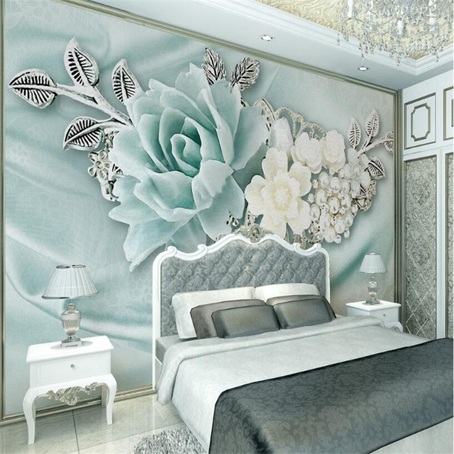 beibehang 3d tapete wohnzimmer schlafzimmer wandbild 3d mint green schmuck perle lgem lde. Black Bedroom Furniture Sets. Home Design Ideas