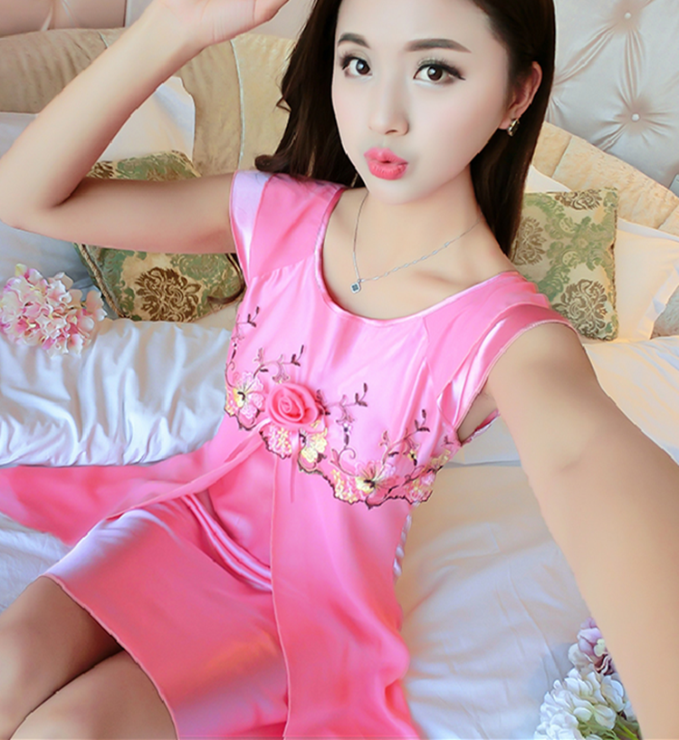 2018 summer lady sexy sleepwear womens loose silk blend bath robe dress nightwear night gown