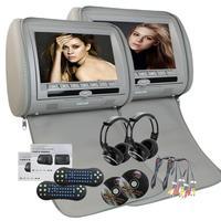 Dual車ヘッドレストdvdプレーヤーペアツインhdデジタル画面でir/fmトランスミッタ無線遠隔制御+ペアのヘッドホン