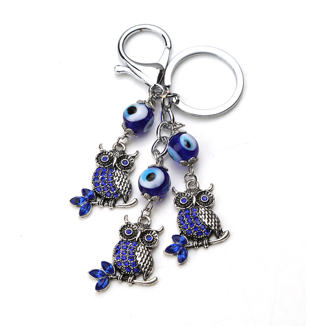 EVIL EYE new fashion Turkey blue evil eye owl keychain animals charms pendant ke