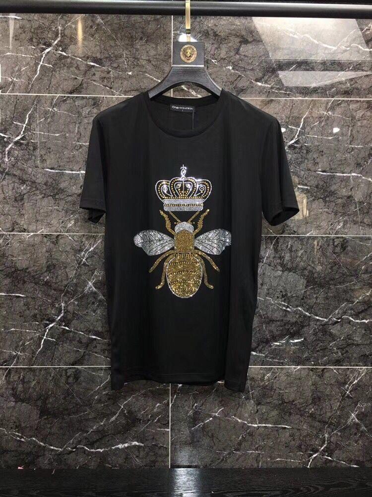 Предложение ограничено по времени, Мужская футболка с круглым вырезом без роскошного алмазного дизайна с коротким рукавом, хлопковые топы и футболки, хлопок