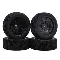 Mxfans 70x26mm Black Plastic Enclosed Wheel Rims With Rubber No 7 Pattern Tyres For RC 1