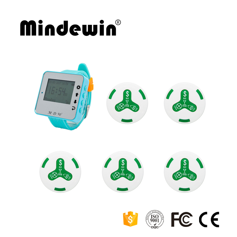 Mindewin 2017 Most Cheap Wireless Calling System 1pc M-W-1 Wrist Watch Pager Receiver+5pcs M-K-4 Call Button Restaurant Pager restaurant wireless table bell system 1 counter monitor 5 wrist watch pager 40 button 3 key call bill cancel
