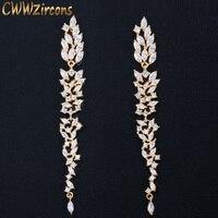 Женские серьги-подвески CWWZircons, длинные серьги-подвески в форме листа с фианитом, ювелирное изделие для свадьбы, CWWZircons CZ578