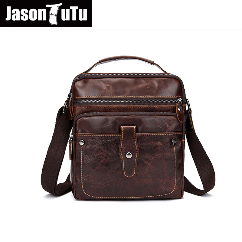 JASON TUTU Men handbag 100% guarantee messenger bag men leather brand Satchels Vintage Classic brown shoulder bag HN81