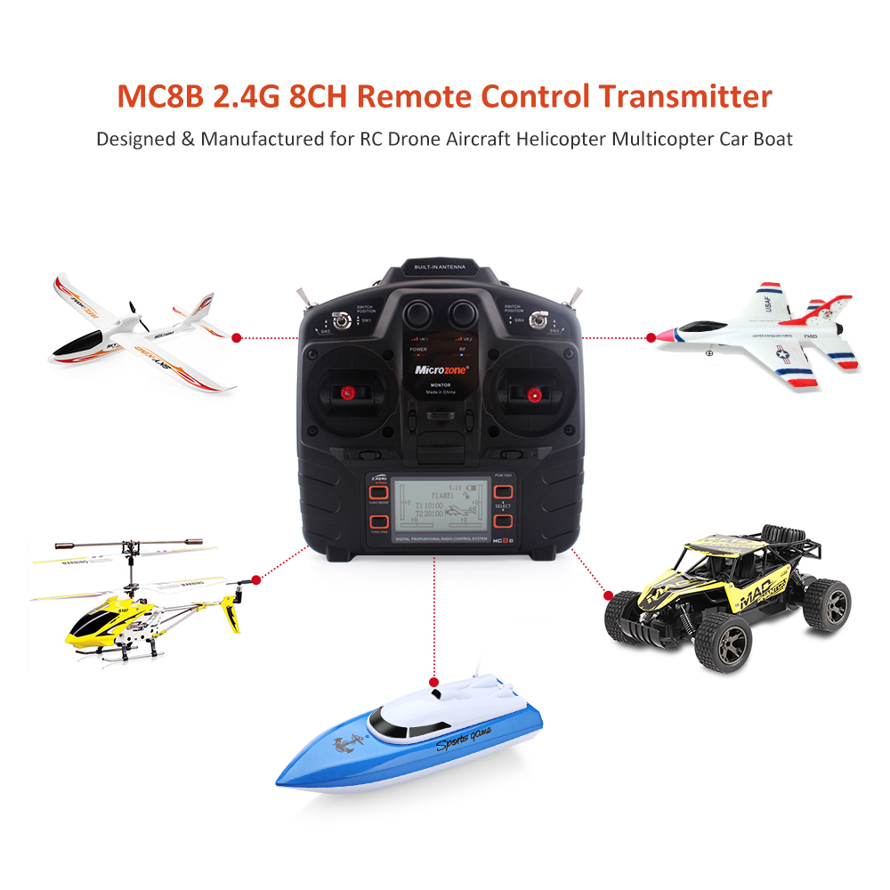 Microzone MC8B 2.4G 8CH RC Transmitter MC8RE 9CH Receiver for RC Car Boat Drone Aircraft Helicopter Multicopter Universal arte lamp picture lights 3 a5007ap 4ab