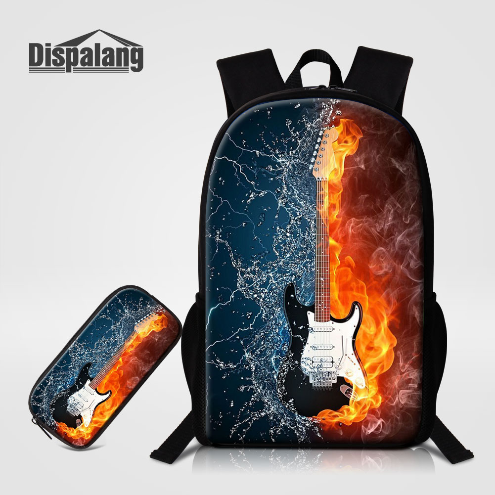 Open-Minded Dispalang 2 Pcs/set School Backpack Pencil Case For Students Music Violin Print Book Bags For Children Fashion Rucksack Mochilas Convenient To Cook Men's Bags Backpacks