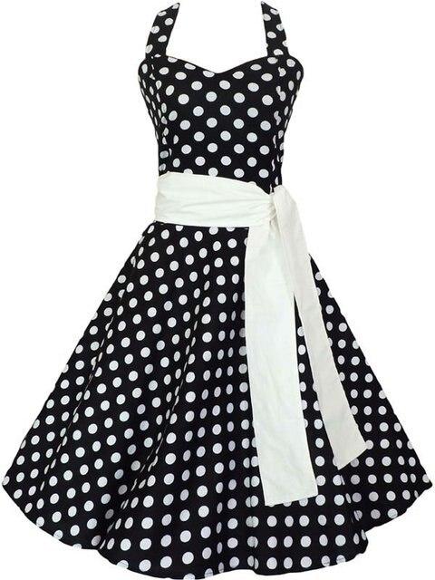 50's swing dress full circle black white