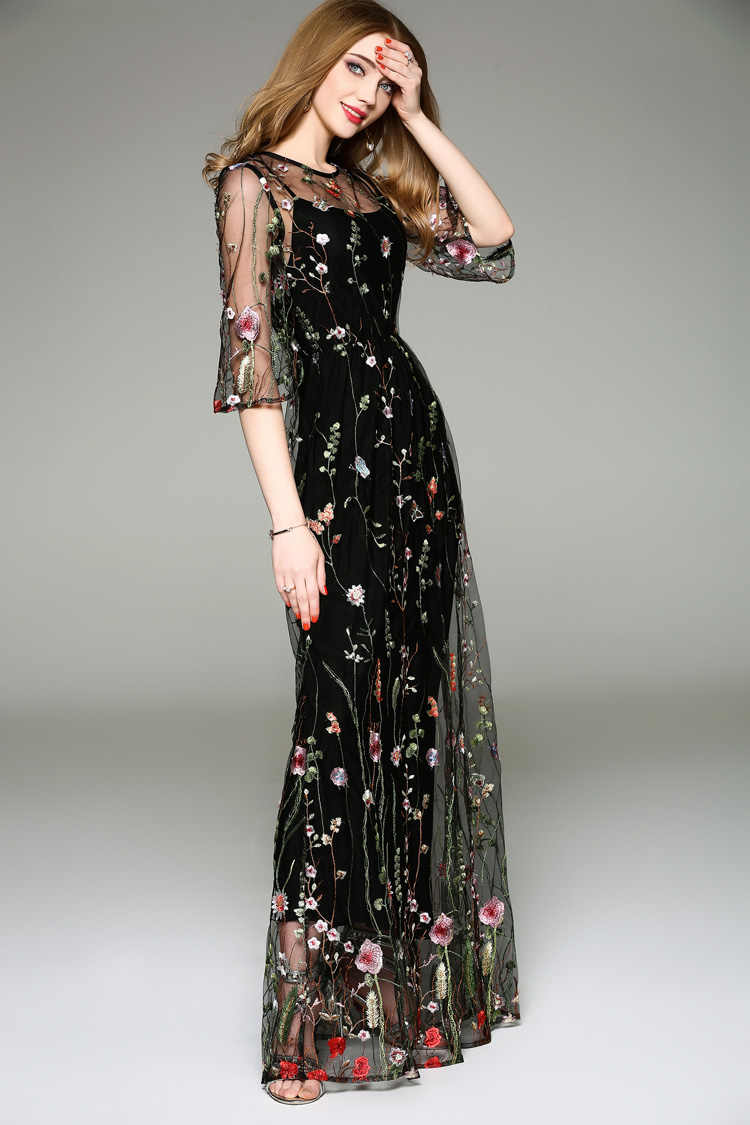 e6e0c7ad0137b New Arrival 2019 Spring Summer Women's O Neck Long Sleeves Embroidery High  Street Runway Maxi Fashion Long Dresses