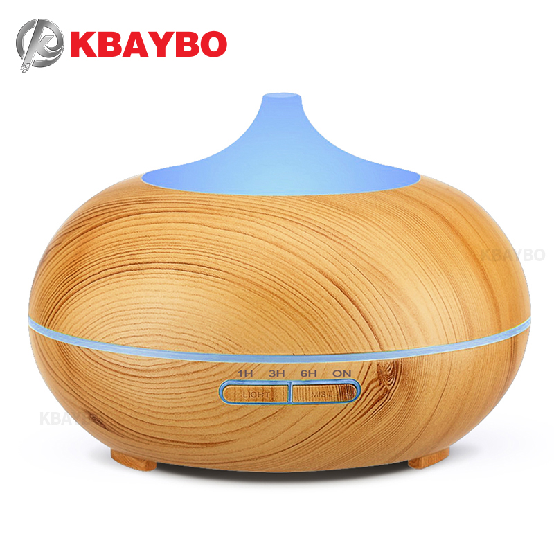 300ml Aroma Essential Oil Diffuser Wood Grain Ultrasonic Cool Mist Humidifier untuk Pejabat Home Bedroom Living Study Room Yoga Spa
