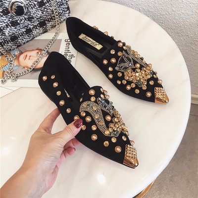 Image 5 - SWYIVY Flat Shoes Woman 2019 Spring Slip On Sneakers Shoes Casual Female Womens Shoes Flat With Rhinestone  Rivet Flat WomanWomens Flats   -