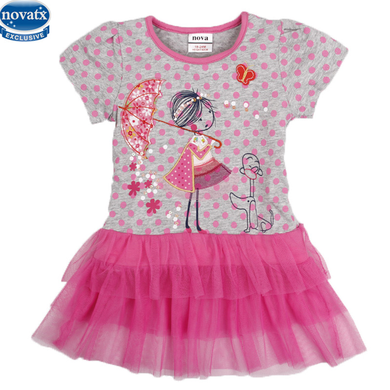 Children Clothes Novatx Kids Brand Baby Girls' Dresses with Little Girl Printed lace Dress for Girls Girls Cartoon Dress H7116 menoea girls dress new 2018 clothes 100% summer fashion style cartoon cute little white cartoon dress kitten printed dress