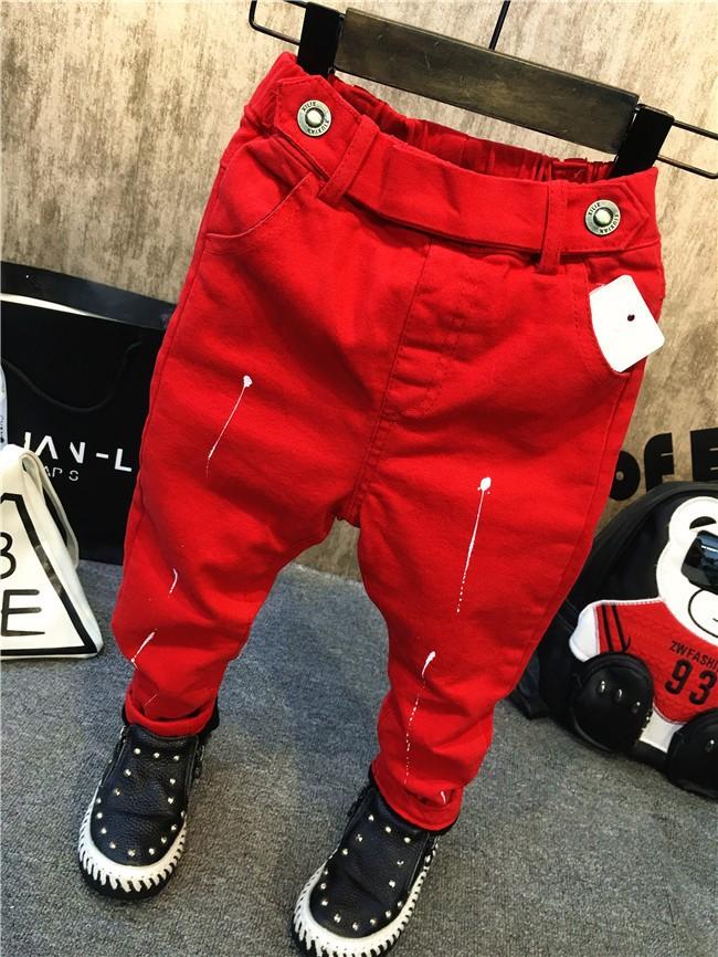 children baby boys autumn winter thick warm jeans pants (1)