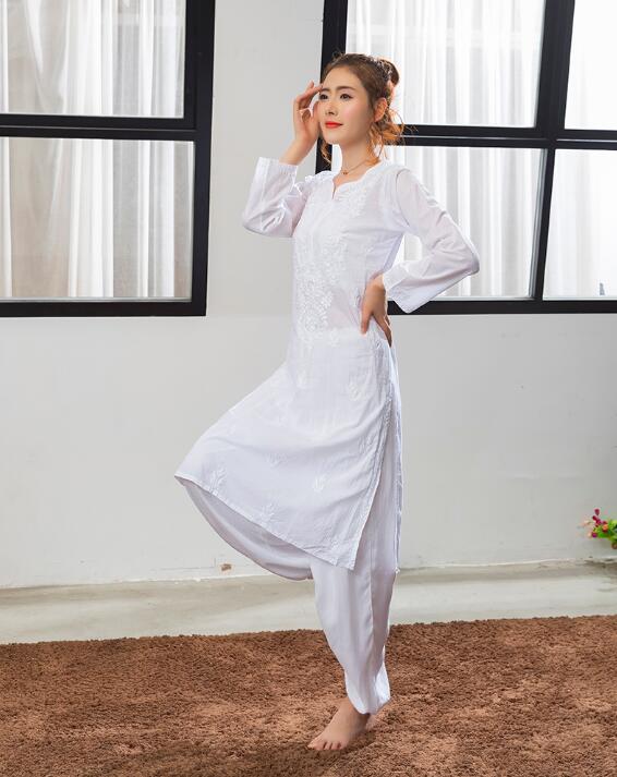 2019 India Traditional Woman Yoga Costume Cotton Hand-made Embroidery Zen Training KurtasThin Kundalini White Top Ethnic Style