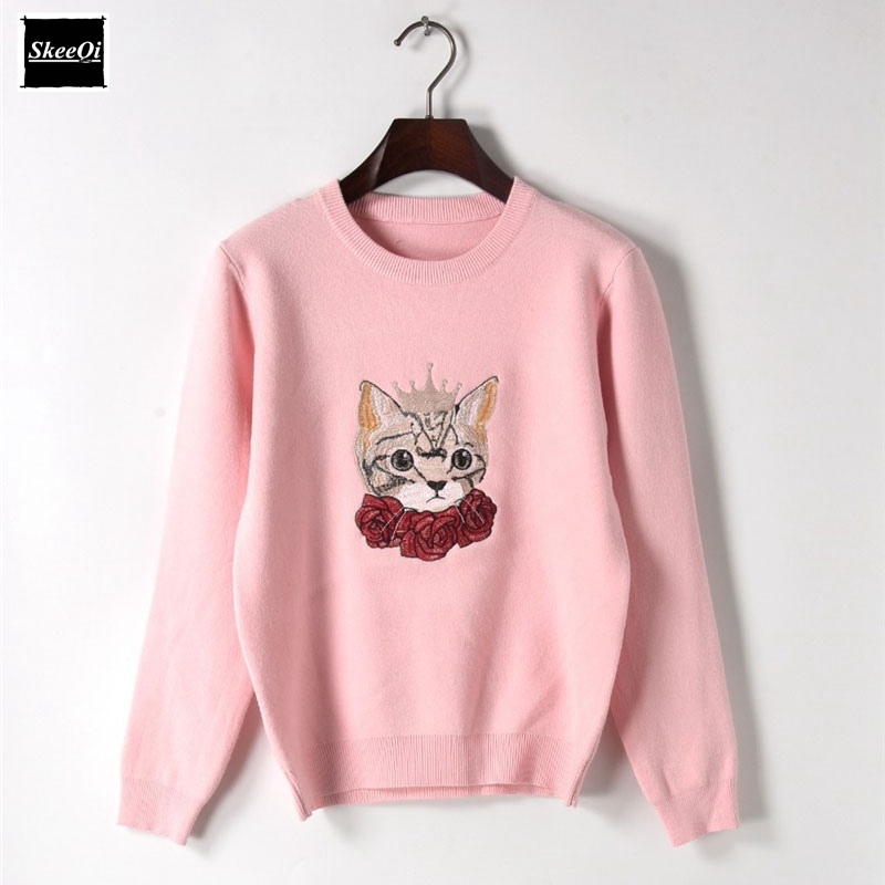 2018 New Fashion Sweater Female Pullovers Rose Crown Cat Winter Spring Knitted Sweaters Pullover Runway Designer Tops Jumper
