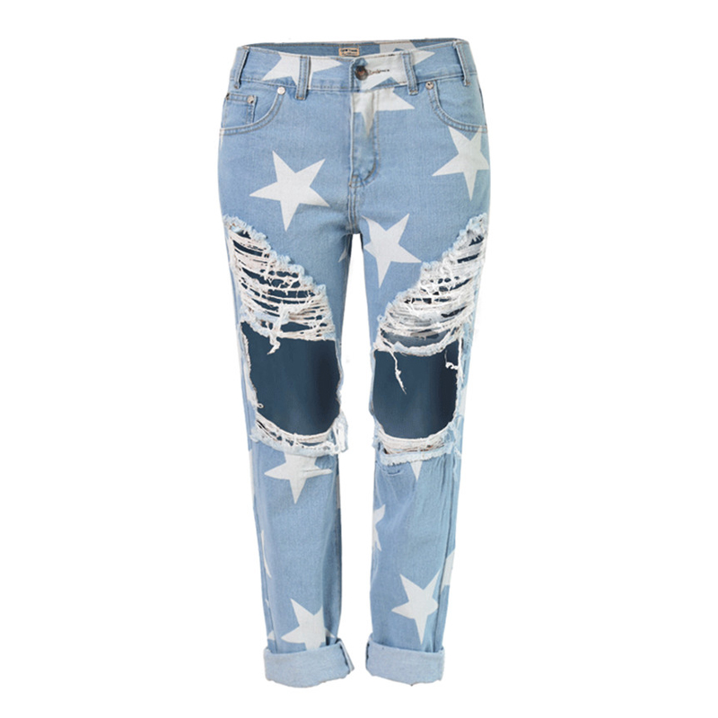 2016 Loose Women Straight Hole Jeans Plus Casual Fashion Women BF Star Jeans Denim Pants Women Clothes American Apparel S1555
