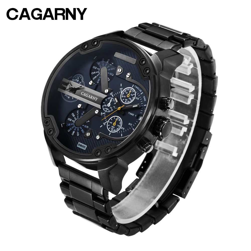 Black Stainless Steel Mens Watches Casual Quartz Watch Men Waterproof Date Sports Wristwatches Dual Times Relogio Masculino XFCS