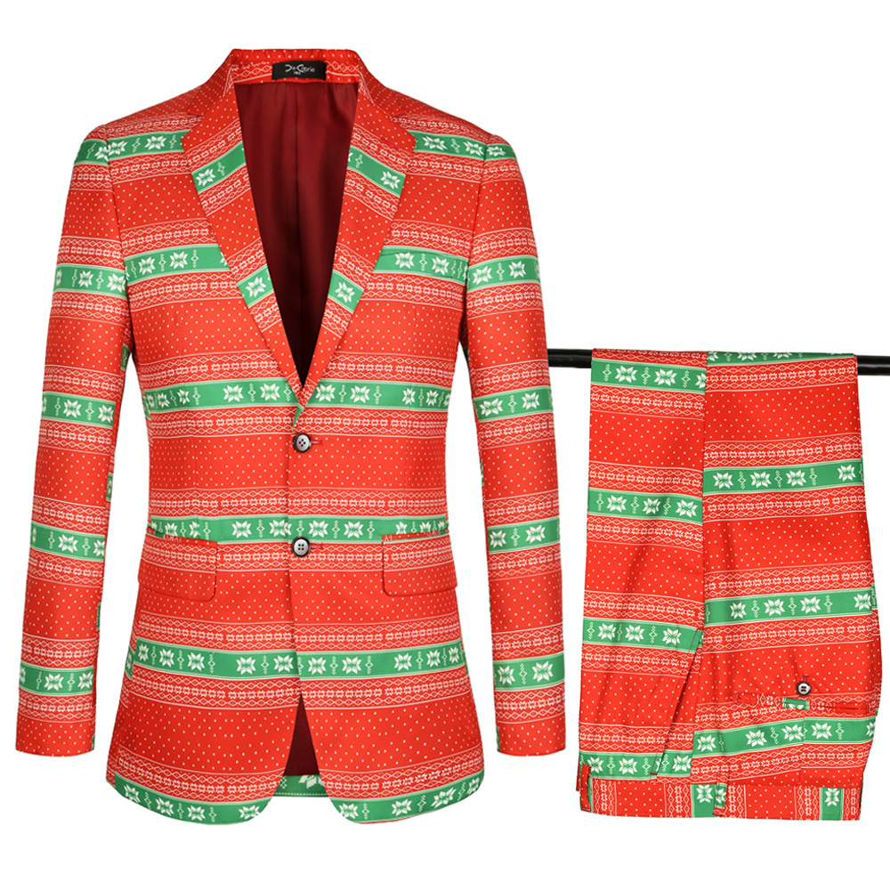 Christmas Suits With Pants Mens Red And Green Pinted Tuxedo Jacket Men Suits Blazer Wedding Suits Costume Homme S-4XL Plus Size