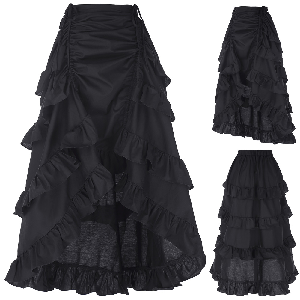 3 Colors Gothic Corset Skirt Victorian Steampunk Long Ruffle Vintage Costume Skirt