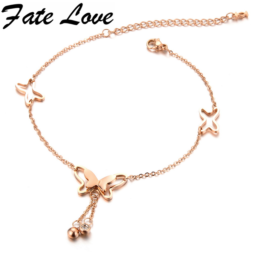 Fate Love Romantic Korean Fashion Charm Rose Gold Color Butterfly Anklets Dazzle Tiny Beads Woman Elegant Delicate Jewelry FL002