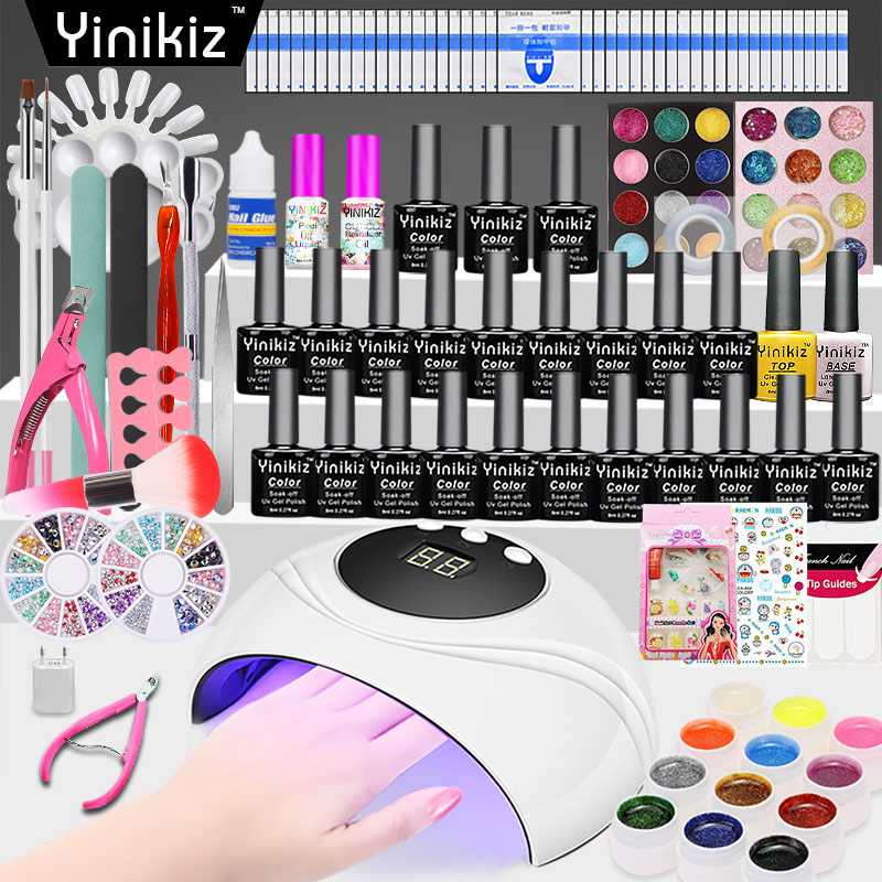 Yinikiz Full Nail Tools Set Nail Gel Polish Fashion 24W UV Lamp Nail Art Manicure Gel Varnish DIY Kits Suitable for Beginner