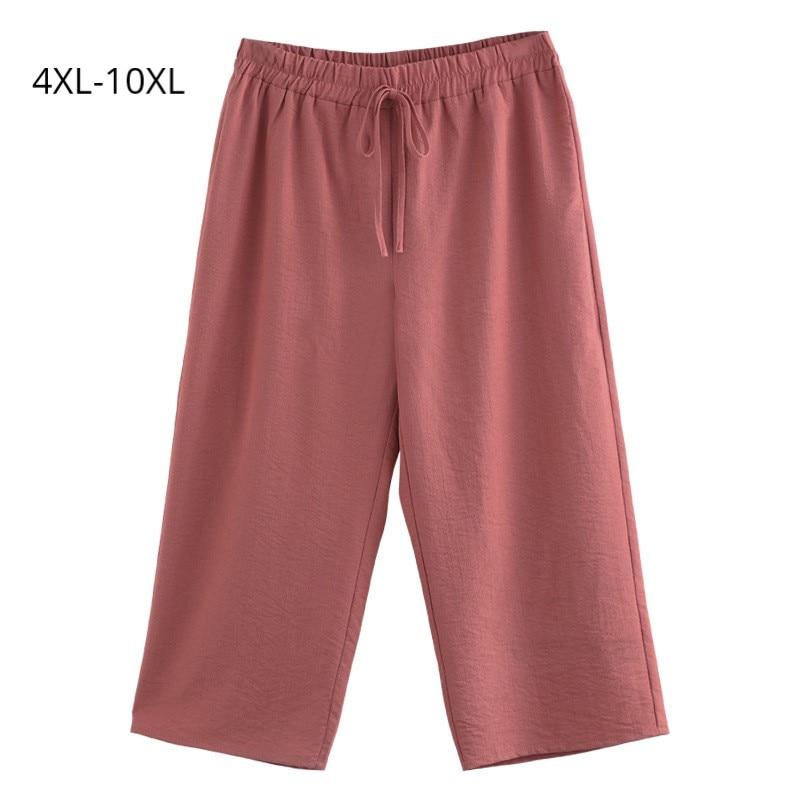 Plus Size 10XL 8XL 6XL 4XL Women Ankle-length   Pants   Female Elastic High Waist   Wide     Leg     Pants   Ladies Loose Trousers For Summer