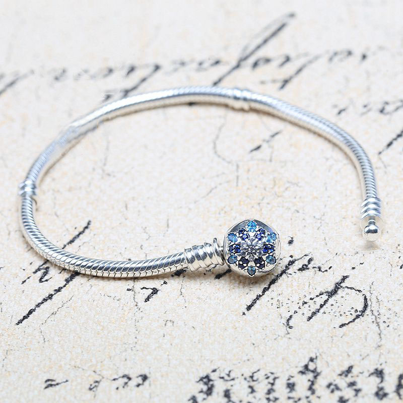 цена на 100% Authentic 925 Sterling Silver Bead Charm Snake Chain Fit Pandora Bracelet with Snowflake Clasp for Women DIY Jewelry Gift
