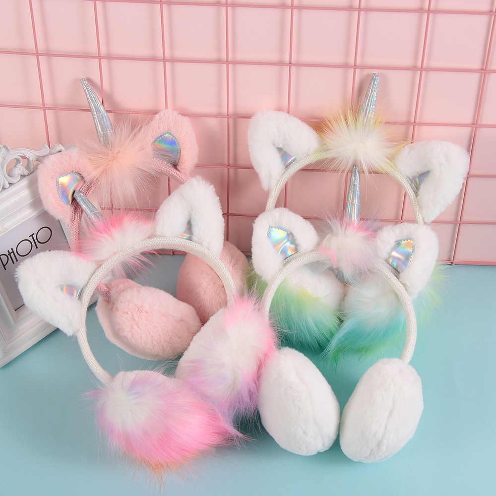 Oreille nueva cubierta de oreja calentadores de orejas de unicornio de felpa de alta calidad
