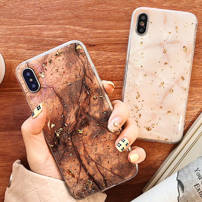 Luxury Gold Foil Bling Marble Phone Cases For iPhone X 10 Cover Soft TPU For iPhone XR XS MAX 7 8 6 6s Plus Glitter Case Coque mous case iphone x