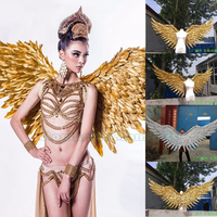 ems free shipping gold feather wings Large props big angle wings for party show 200cm*100cm