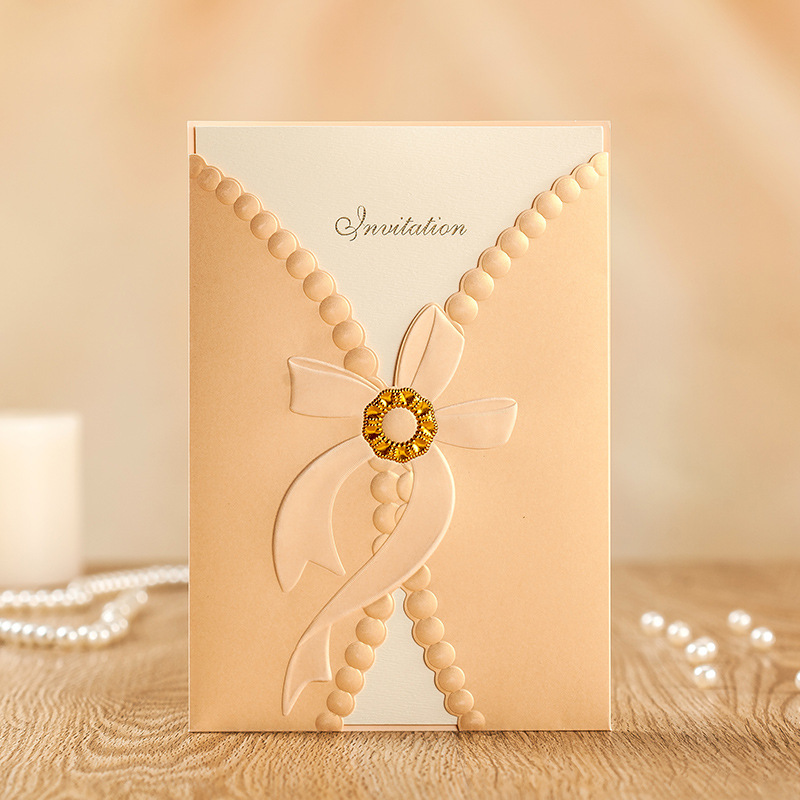 20 Pieces Lot Gold Stamped Wedding Invitation Card New
