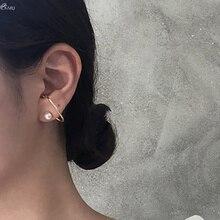 AOMU Корея жемчужные серьги для женщин девочек Сережка-гвоздик с геометрическим металлические серьги S925 Стерлинговое Серебро булавки серьги набор ювелирных изделий