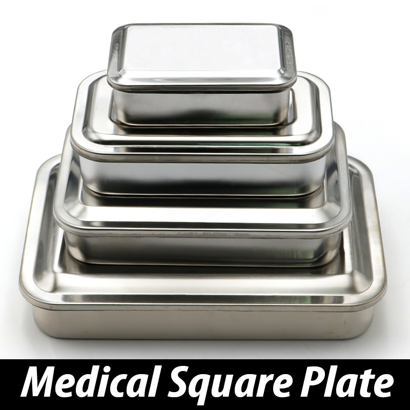 304 thick medical stainless steel disinfection tray square plate 