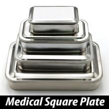 304 سميكة الطبية الفولاذ المقاوم للصدأ تطهير صينية لوحة مربعة مع ثقب غطاء معدات طبية والأدوات الجراحية