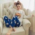 Novo 2016 Outono e Inverno Roupa Interior Pijamas Mulheres Conjuntos de Pijama de Seda Leite Sleepwear Pijama para as mulheres Menina feminino