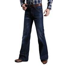 Erkek için alevlendi kot erkekler çizme kesim bacak Fit kot klasik streç Denim Flare Bootcute kot erkek moda streç pantolon