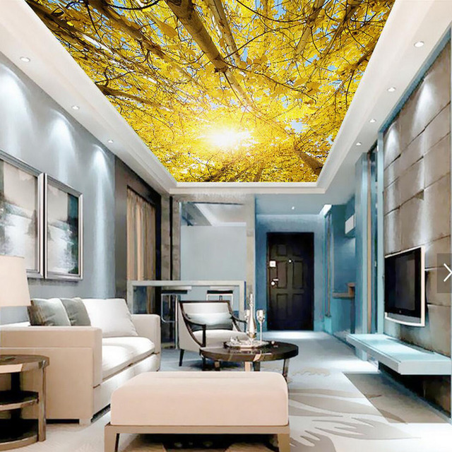 3d oro albero soffitto hd wallpaper foto murale lavabile for Carta da parati per soffitto