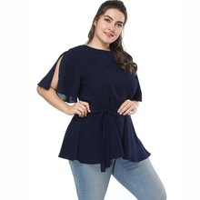 Plus Size Summer Blouse Slim Fit Casual Ruffles Solid Pink Half Sleeve Office Ladies Tops With Sashes Chiffon 2019
