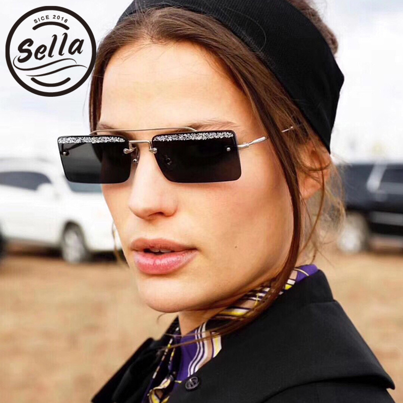 367789efe3d Sella Modern Women Men Small Narrow Alloy Frame Candy Color Glitter Brow  Sunglasses Summer Colorful Tint Lens Ladies Eyewear-in Sunglasses from  Apparel ...