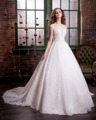 Dreagel New Design Vintage Scoop Neck Lace A-line Wedding Dress 2017 Luxury Appliques Beaded Bride Gown Robe De Mariage Hot Sale